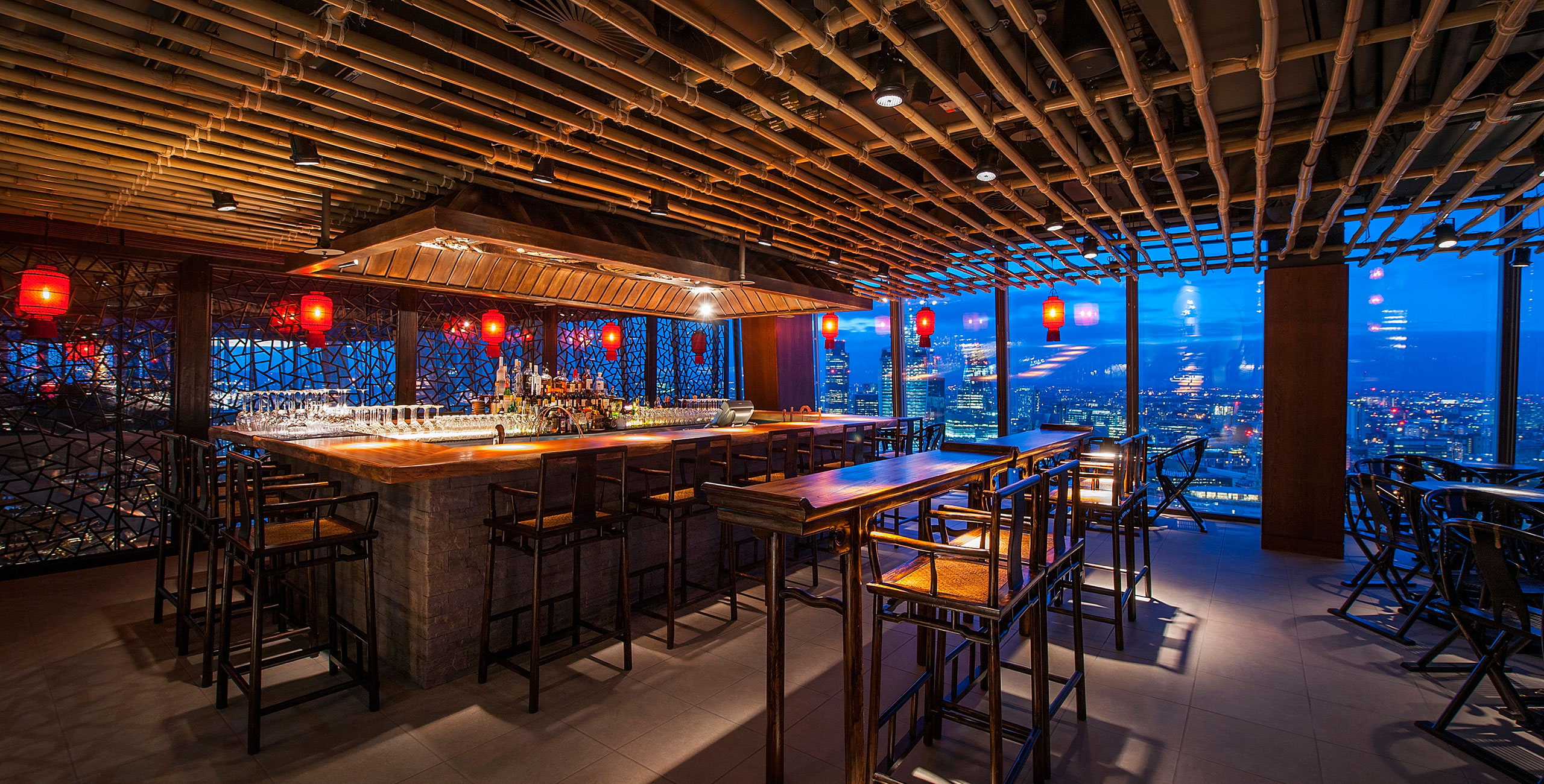 into lighting consultants designed award winning lighting scheme for hutong restaurant at the shard