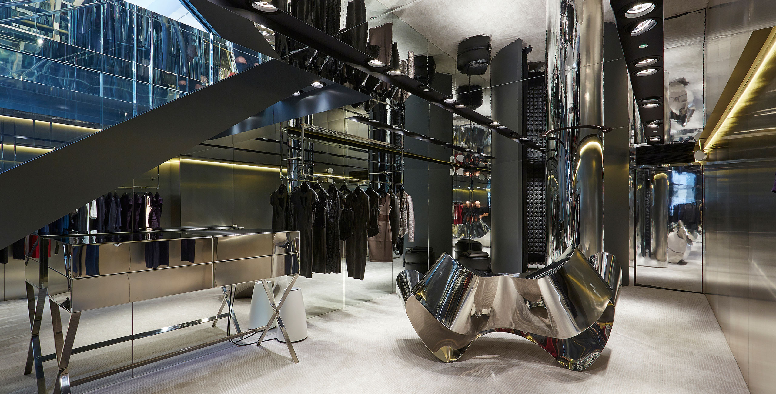 into lighting consultants design scheme for jitrois flagship retail store in london