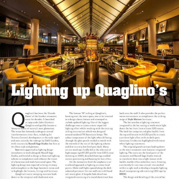 feature on lighting design at Quaglino's by into lighting in Gs magazine Jan 2015