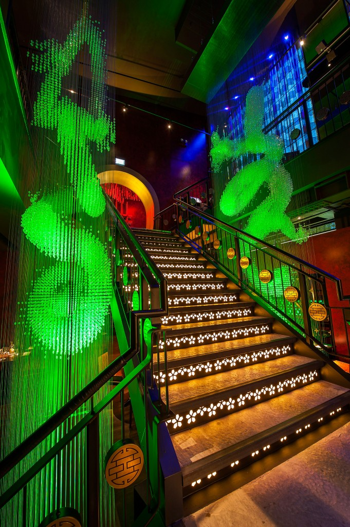 lighting design of stairwell at buddha bar london by into lighting