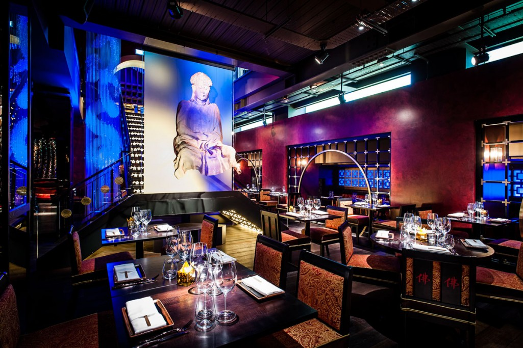lower ground restaurant lighting design at buddha bar by into lighting